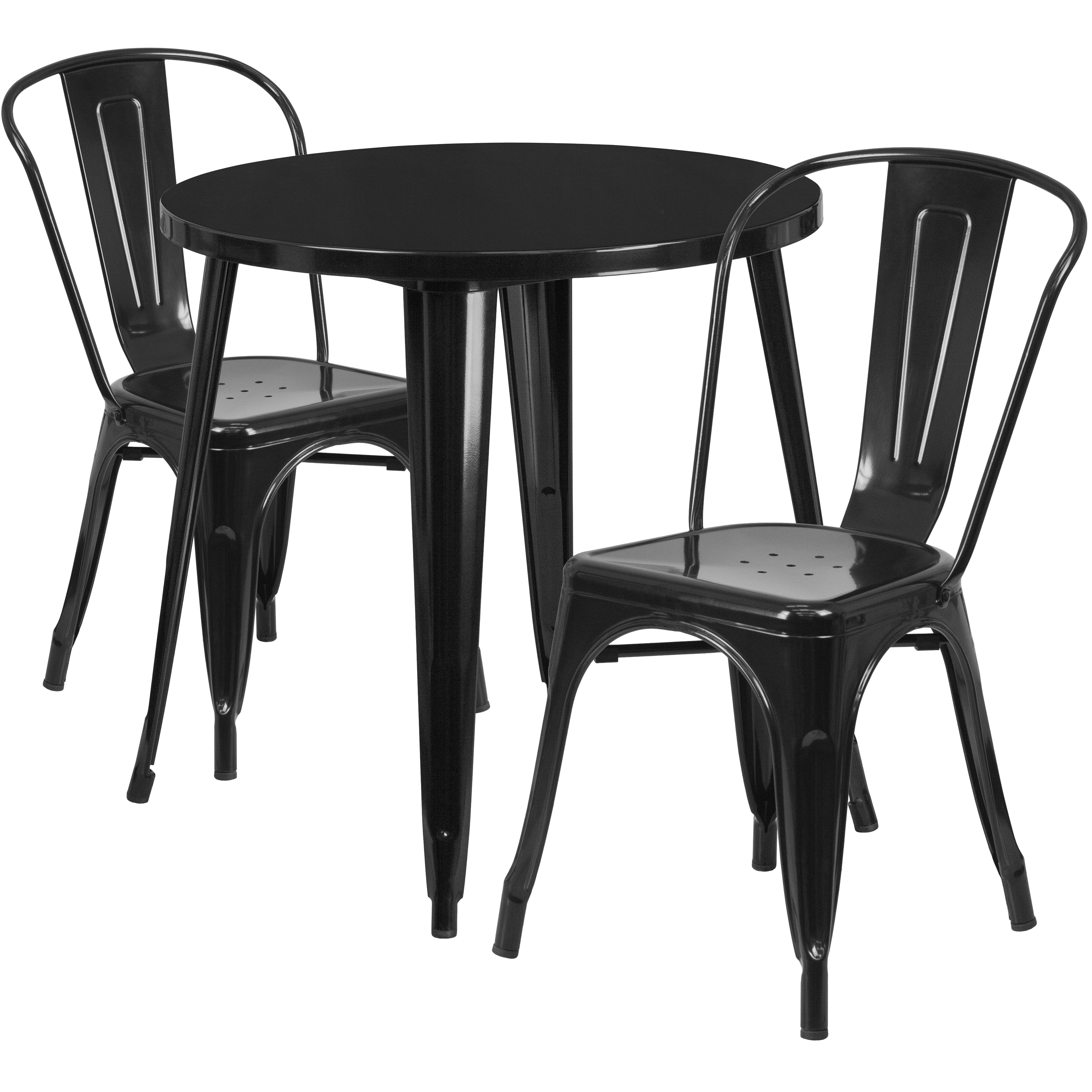"""Flash Furniture 30"""" Round Metal Indoor-Outdoor Table Set with 2 Cafe Chairs, Multiple Colors"""