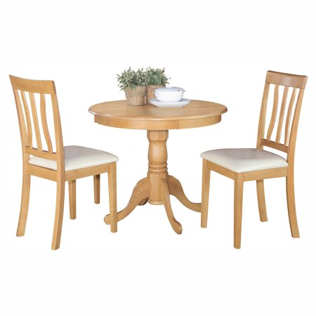 East West Furniture Antique 3 Piece Pedestal Round Dining Table Set with Faux Leather Seat Rustic Brown Leather 3 Piece