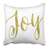ARTJIA Joy Gold Faux Foil Metallic Glitter Inspirational Christmas Christian Quote White Pillowcase 16x16 inch