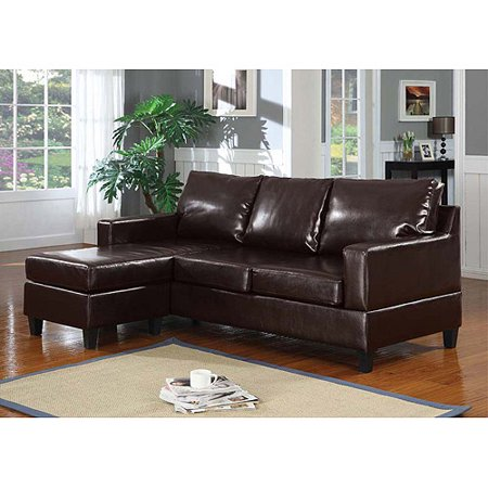 Vogue Bonded Leather Reversible Chaise Sectional Sofa Brown