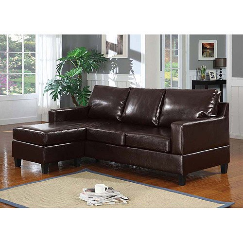 Vogue Bonded Leather Reversible Chaise Sectional Sofa Brown  sc 1 st  Walmart : chaise sofa leather - Sectionals, Sofas & Couches