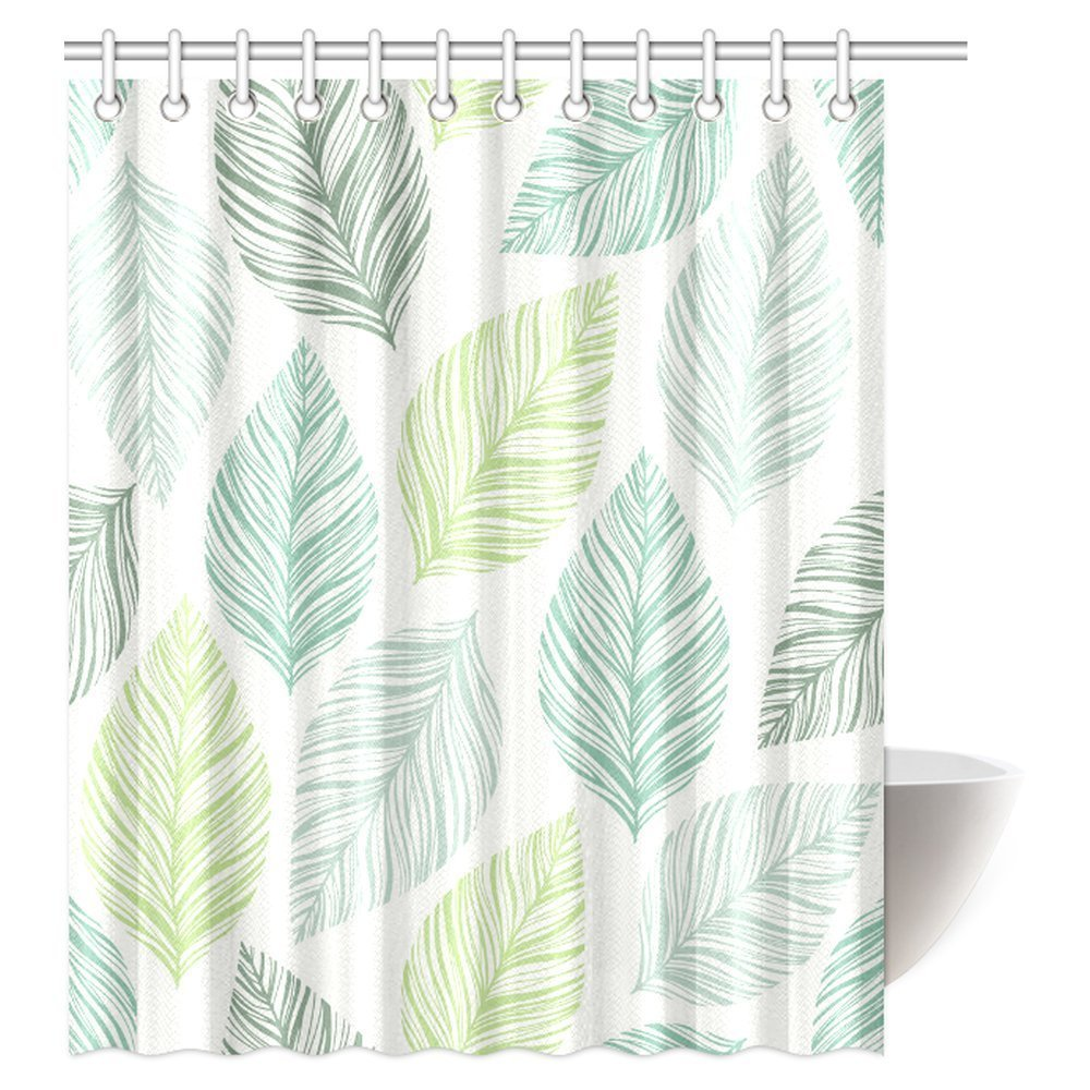 GCKG Leaves Decor Shower Curtain Exotic Fantasy Tropical With Stylish Floral Graphic Illustrated Art Fabric Bathroom 60x72 Inches