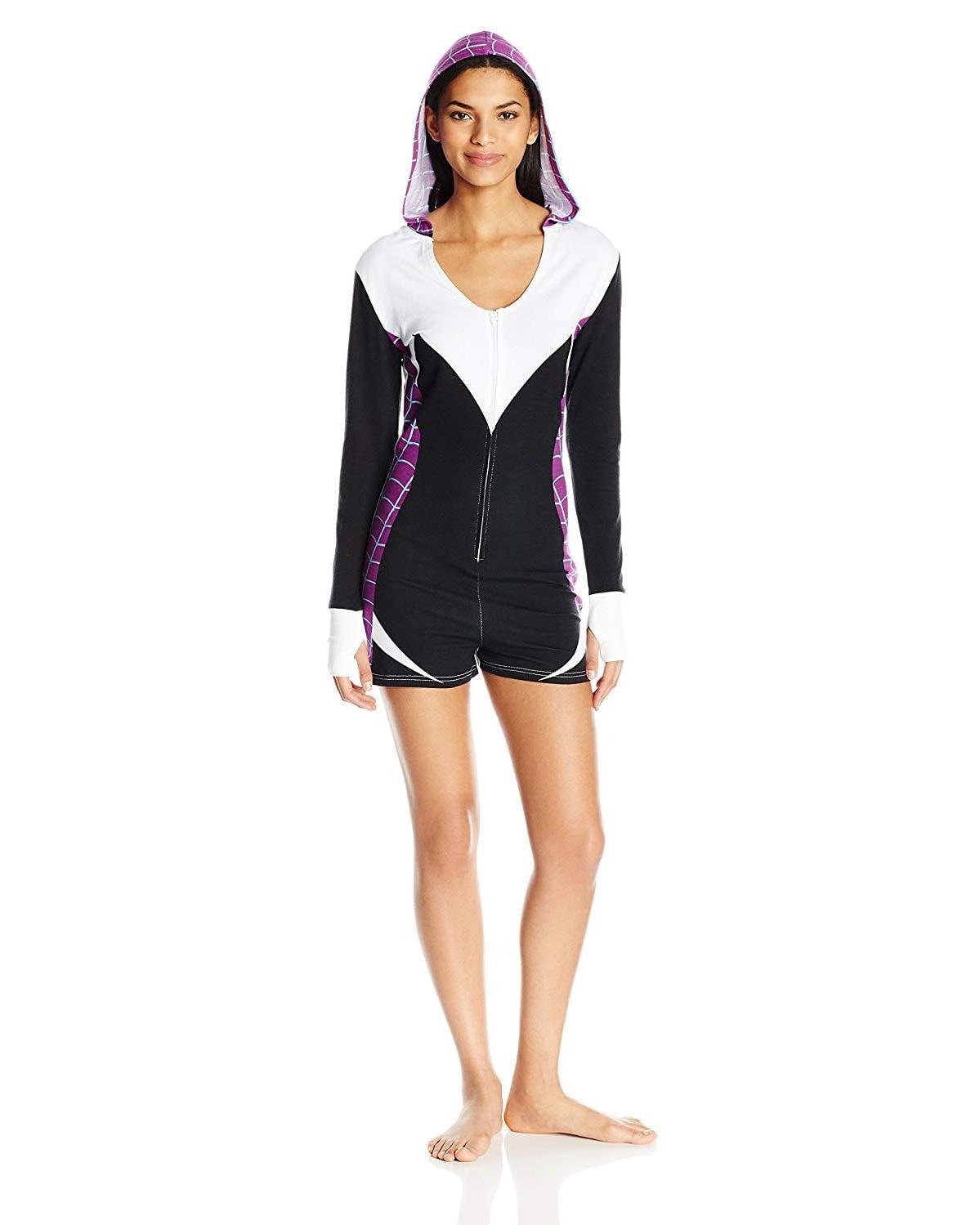 Marvel Women's Spider Gwen Romper, Black, Size: XLarge