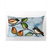 Liora Manne 7SC1S411903 Visions Iii 4119-03 Song Birds Blue 12 x 20 In. Outdoor Pillow
