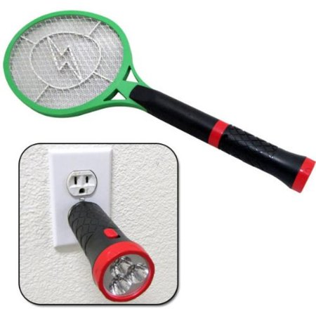 Rechargeable Handheld Electric Fly Mosquito Bug Hitting Swatter Zapper and 3 LED Flashlight (New 2013 - Hand Held Led Light
