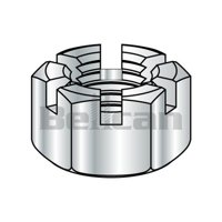 Shorpioen 37NHS 0.37-16 Slotted Hex Nut - Zinc - Box of 500