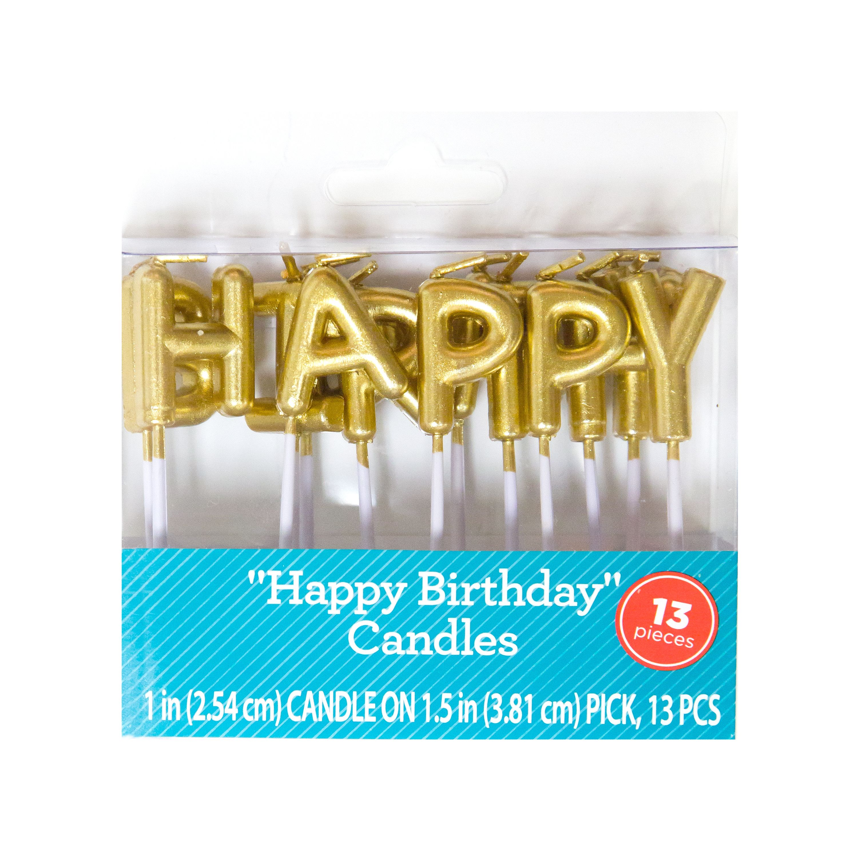 Happy Birthday Letter Candles Gold 13pc