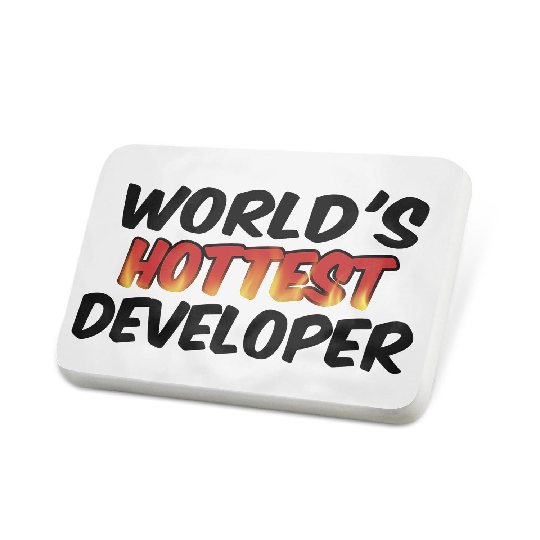 Porcelein Pin Worlds hottest Developer Lapel Badge – NEONBLOND