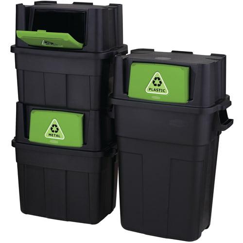 Rubbermaid Flip-Door Stackable Recycle Bin Bundle, Set of 3