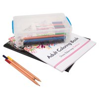 Super Stacker Large Pencil Box, Clear with Blue Handles