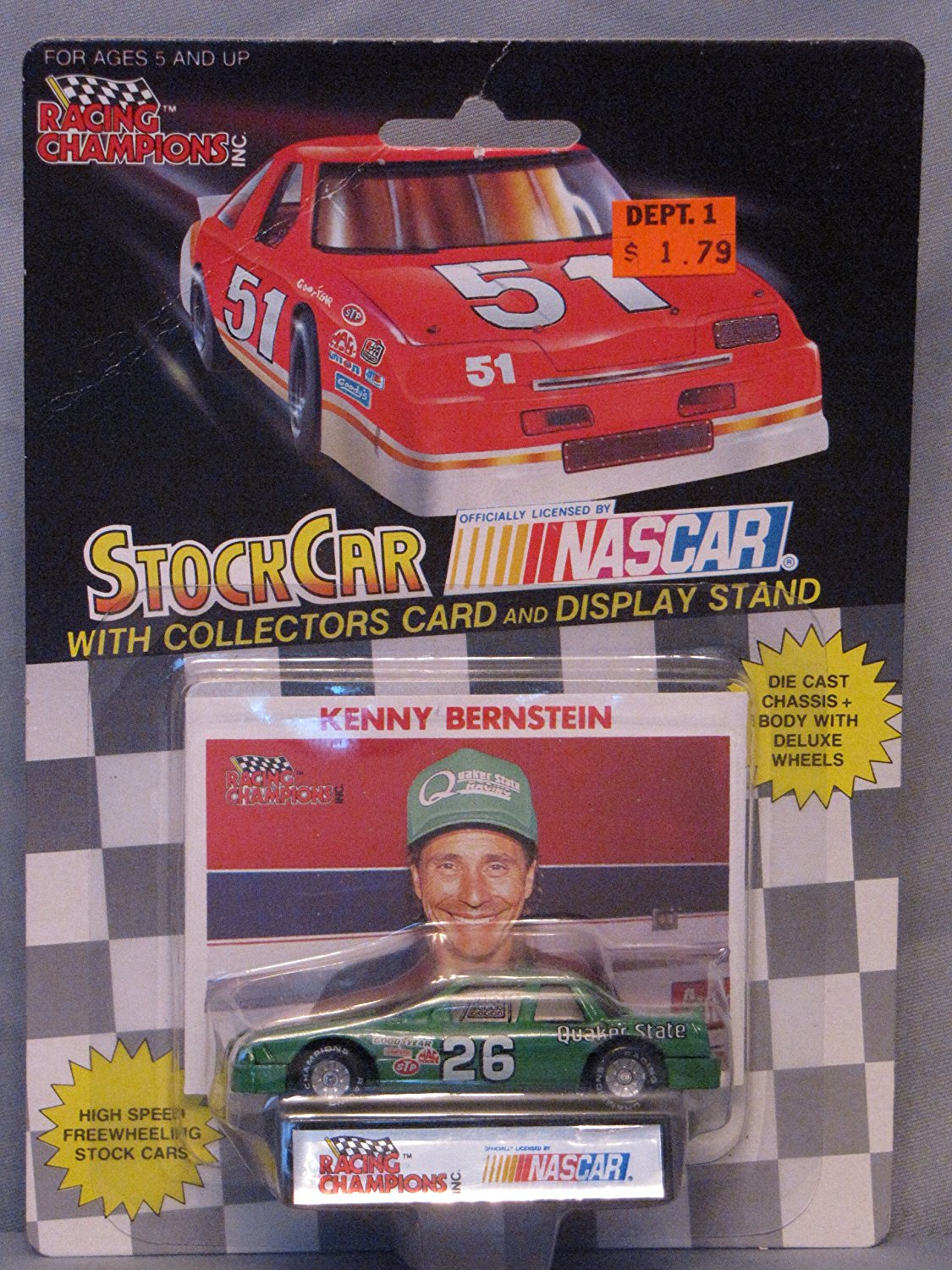 1991 Racing Champions . . . Kenny Bernstein #26 Quaker State . . . Includes Collector's... by