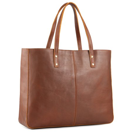 Kattee Vintage Cowhide Leather Tote Bag Large Handbag -