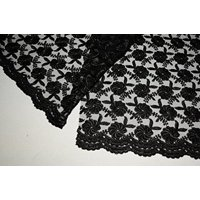 """Altotux 51"""" Floral Tulle Embroidery Lace Net Fabric Double Scalloped 5 Colors (Black)"""