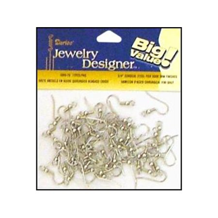 Steel Fish Hook / French Hook Earring Wires with Raw Finish: - Fish Hook Ear Wire
