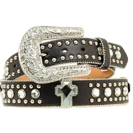 Blazin Roxx Western Belt Womens Leather Crystal Cross Black N3510401 Black Leather Western Belt