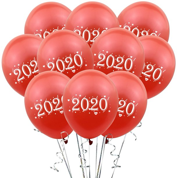 10Pcs 2020 Balloons Gold Rose Gold Red Green Number Latex ...