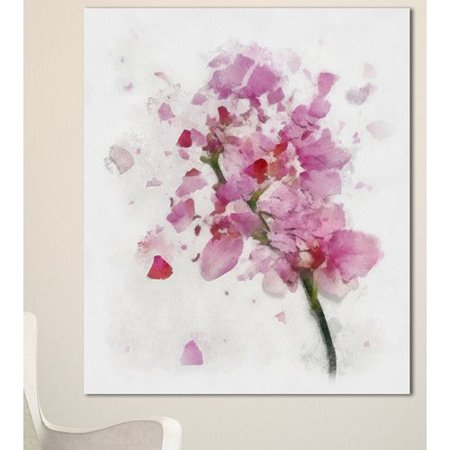 Design Art 'Pink Flower with Falling Petals' Painting Print on Wrapped Canvas