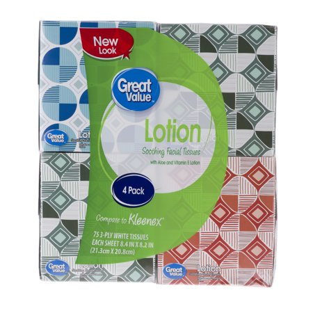 Great Value Lotion Soothing Facial Tissues, 4 Cube Boxes (300 Total Tissues)