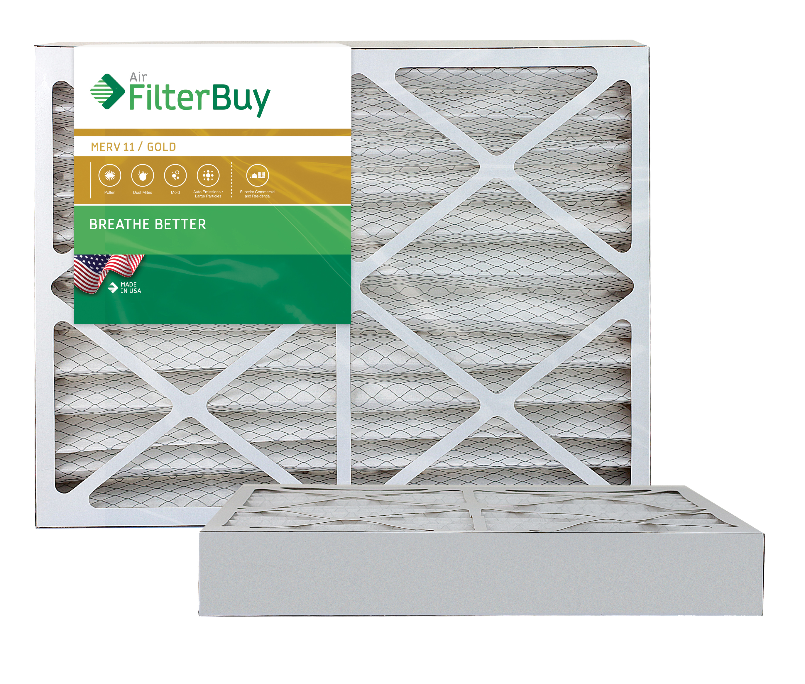 MERV 11 FilterBuy 18x20x1 Pleated HVAC AC Furnace Air Filter AFB Gold