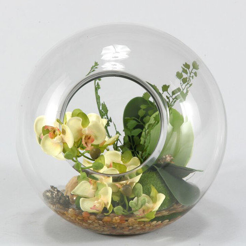 D & W Silks Green Phalaenopsis Orchid in Glass Shpere