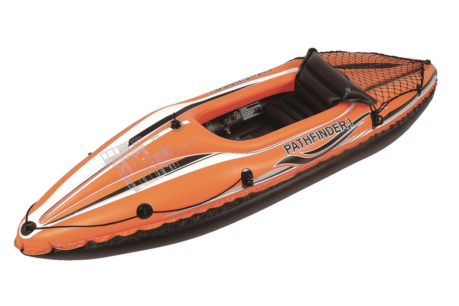 """108"""" Orange and Black """"Pathfinder I"""" Inflatable Single Person Kayak by Pool Central"""