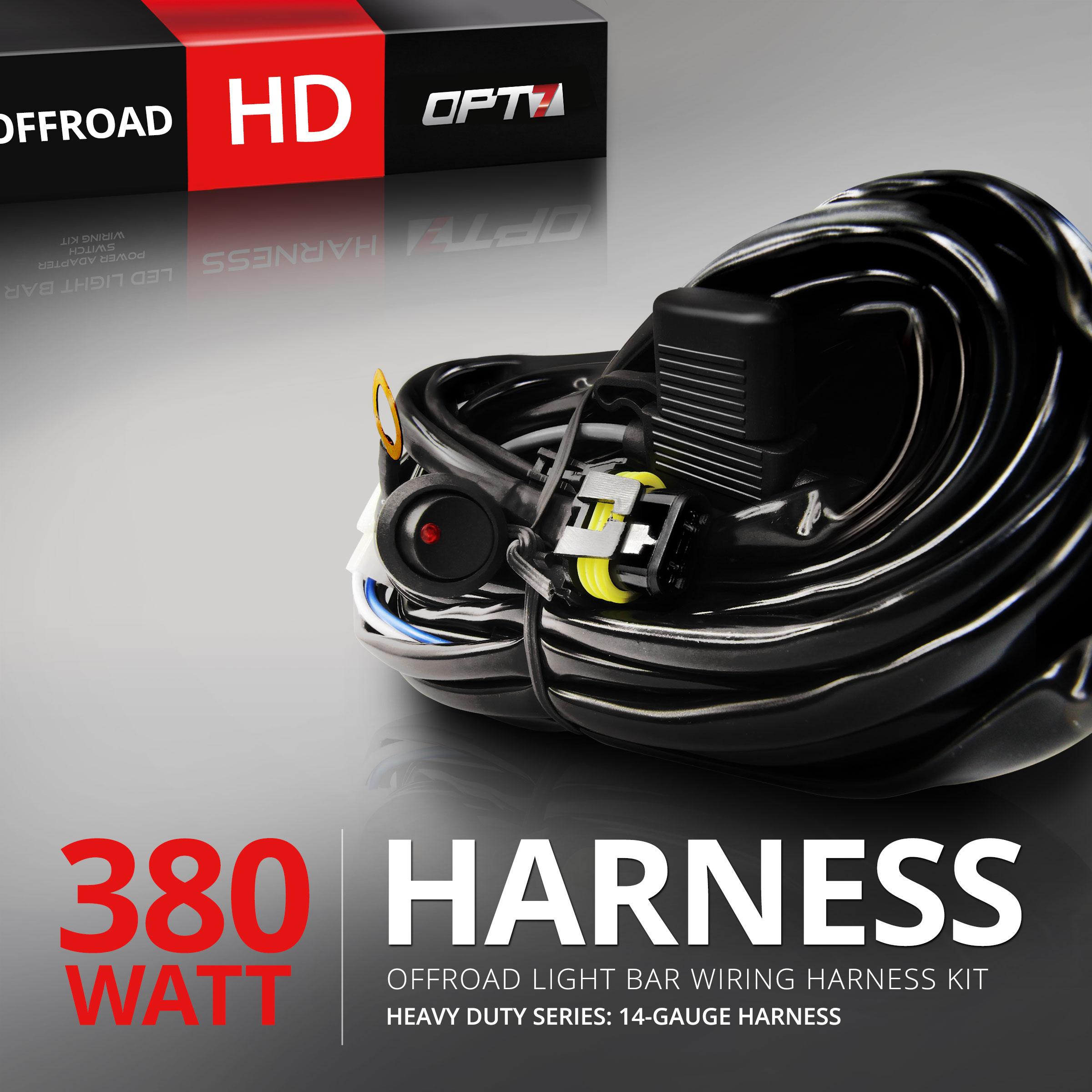 OPT7® 14 Gauge 380W Wiring Harness w/Switch for Off Road LED LIGHT Bar - 11ft Dimmer Strobe 80ft Range Plug and Play Waterproof Relay