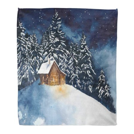 SIDONKU Throw Blanket Warm Cozy Print Flannel House Cabin in The Woods Forest Watercolor Painting Christmas Comfortable Soft for Bed Sofa and Couch 50x60 Inches - Painting Cabin In The Woods