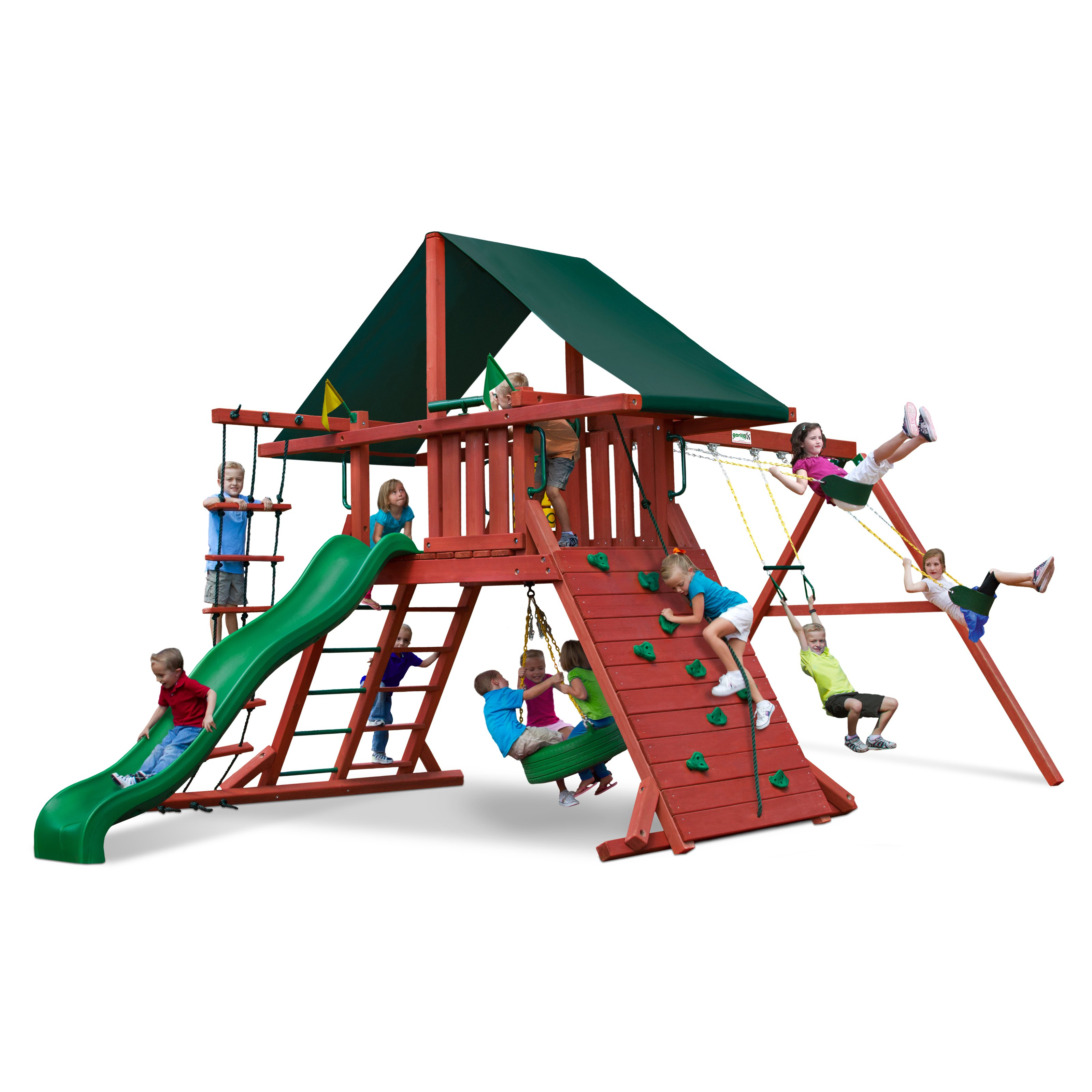 Gorilla Playsets Sun Climber I Wood Swing Set with Canvas Green Canopy