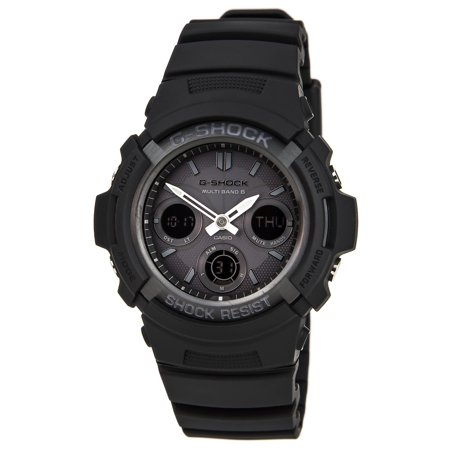 - AWGM100B-1A Men's G-Shock Black Resin Tough Solar Power Atomic Watch