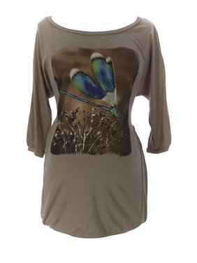 9FASHION Maternity Women's Mara Dragonfly Blouse, Small, Biscuit