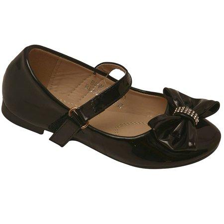 2bc309001a0a9 Bella Marie - Bella Marie Girls Black Rhinestone Bow Accent Mary Jane Shoes  11-4 Kids - Walmart.com