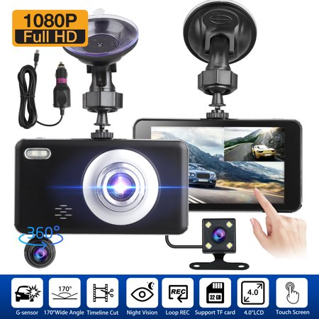 Dual Dash Cam Front and Rear, 1080p HD Car DVR Dashboard Camera Recorder with Night Vision, 4 inch IPS Touch Screen, 170 Super Wide Angle, G Sensor, Parking Monitor, Motion Detection,