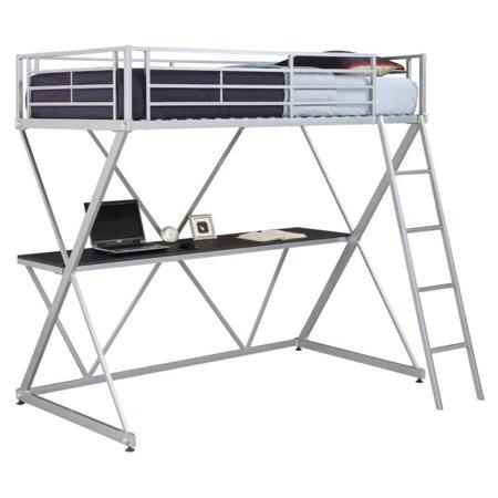 DHP Metal Loft Bed Over Desk Workstation Twin Size, Silver