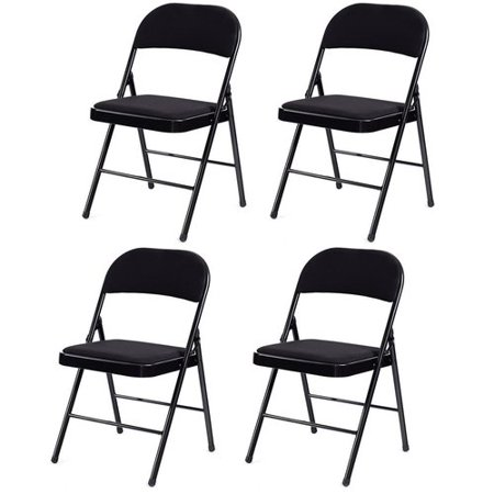 Set of 4 Fabric Upholstered Padded Seat Metal Frame Folding Chairs Metal Set Folding Chair