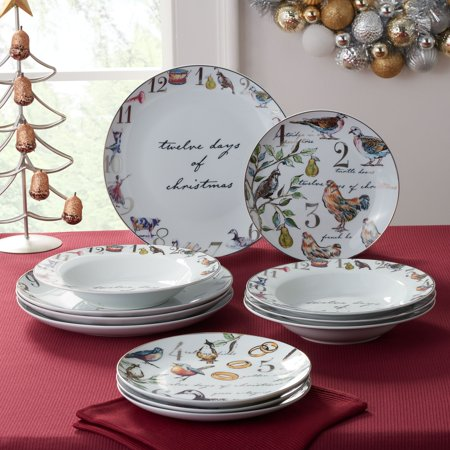 Better Homes & Gardens 12 Days of Christmas Dinnerware Set, 12pc Christmas Holiday Dinnerware