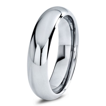 Tungsten Wedding Band Ring 6mm for Men Women Comfort Fit Domed Round Polished Lifetime - 6mm Mens Wedding Band
