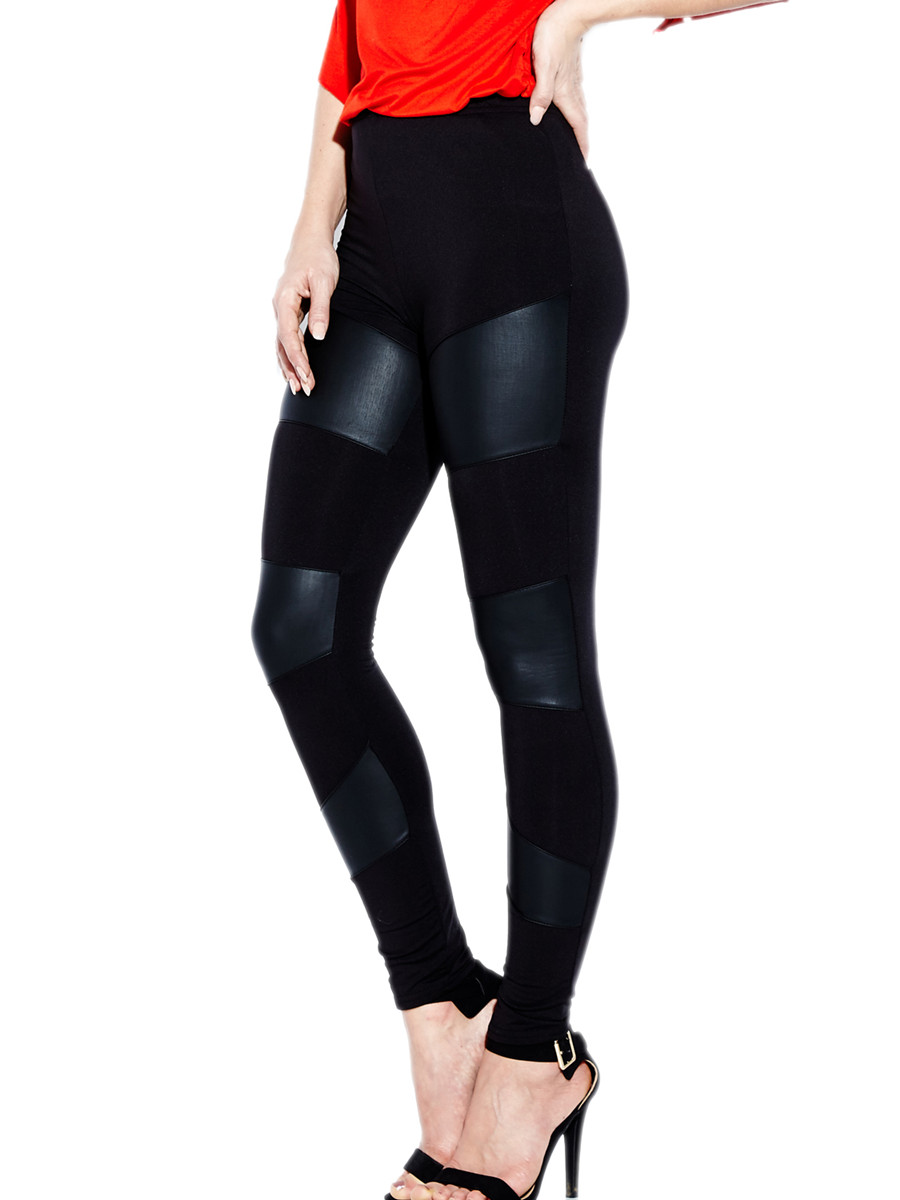Women's Slim Fit Faux Leather Leggings Stretchy Stitching Pants Black