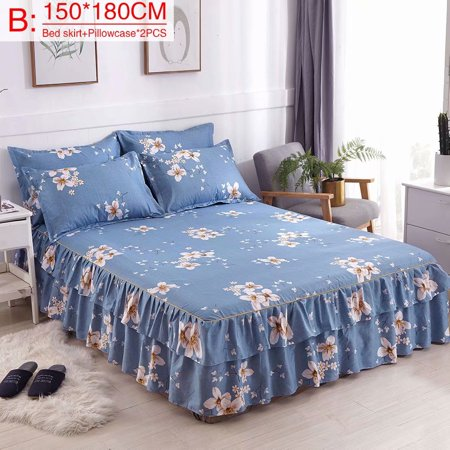 Akoyovwerve Bed Skirt, Printed Thickened Plant Cashmere Twill Sanding 2-Layer Chandler Bed Skirt Bed Cover with 2 Pillow Cover,Size