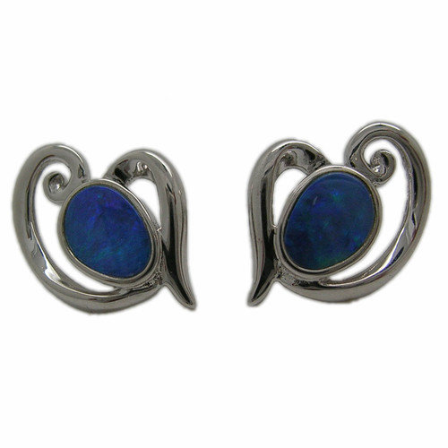 Pearlz Ocean Boulder Sterling Silver Opal Stud Earrings