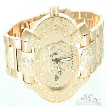 Aqua Master Rose Gold Finish Jesus Dial Watch Iced Diamond Maxx Mens Full Metal