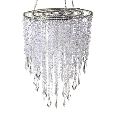 Hanging Beaded Chandelier with Icicle Crystals, Clear, 10-1/2-Inch (Beaded Chandelier)