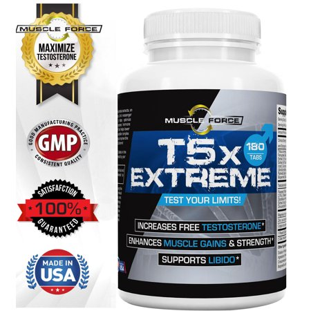 Testosterone Booster | T5X EXTREME From Muscle Force | Clinically Proven | Increases testosterone 30% Plus | One Bottle 180 Capsules | Free