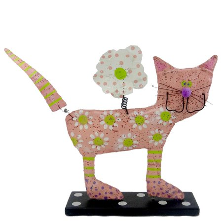 Peri Woltjer PINK CAT FIGURINE Metal Screen/Wood Animal Kitten Flower 20075842 (Peri Woltjer Halloween)