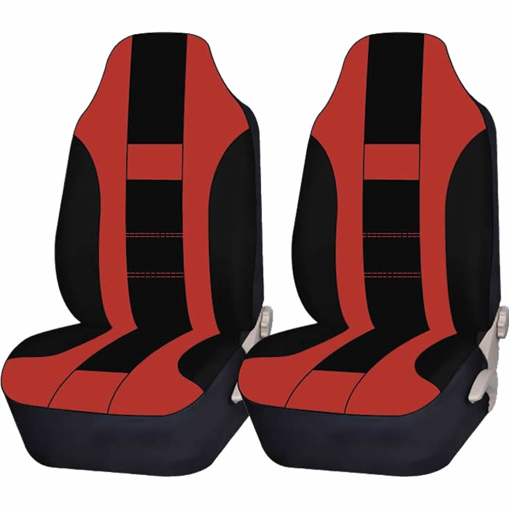 2 Piece Red & Black High back Double Stitched Front Seat cover Universal Car Truck SUV