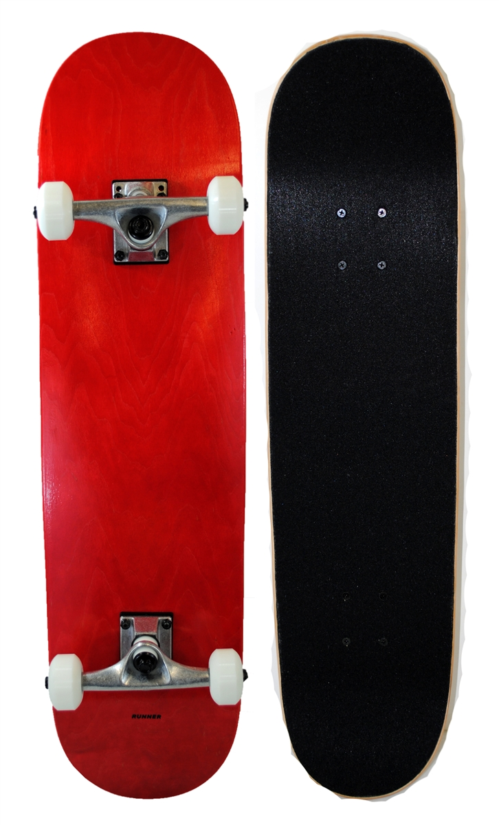 Runner Sports Complete Full Size Standard Maple Deck Skateboard Red by Runner