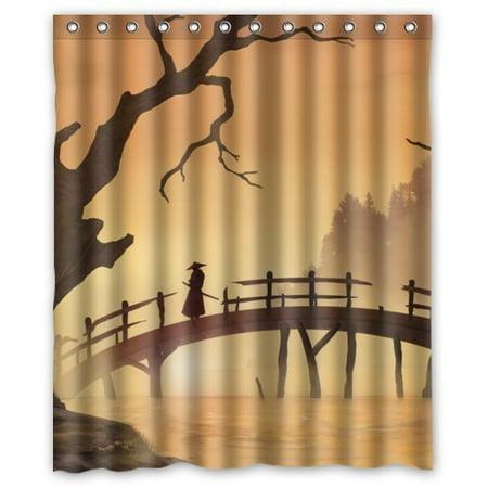 HelloDecor It asia bridge samurai man river trees stall Shower Curtain Polyester Fabric Bathroom Decorative Curtain Size 60x72 Inches - Man Shower