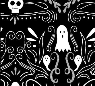 FABRIC EDITIONS, COTTON FABRIC, FAT QUARTER 18X21, METALLIC, HALLOWEEN GHOSTS