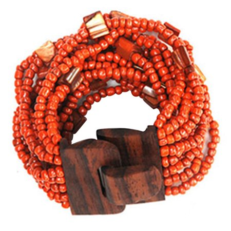 IndoMode® Mother of Pearl Shell Bracelet with Orange Beads 5cm Wide Wood Buckle