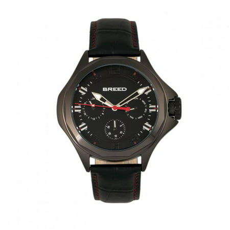 Breed BRD6904 Tempe Leather-Band Watch with Day & Date, Black - image 1 de 1