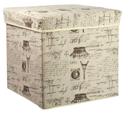 Home Basics Storage Ottoman, Folding Storage Box, Paris Eiffel Tower